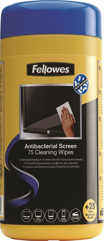 Fellowes Antibacterial Screen Cleaning Wipes - Tub (75+25free)