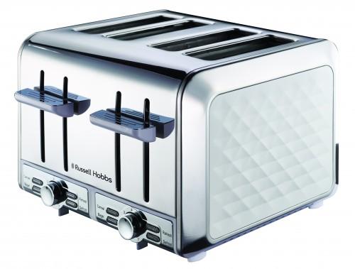 Russel Hobbs Diamond White 4 Slice Toaster