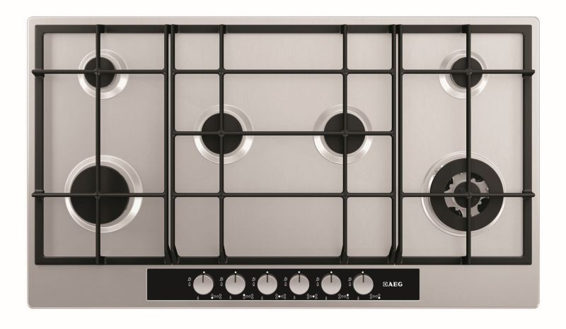 aeg 900mm 6 burner gas hob aeg best deals. Black Bedroom Furniture Sets. Home Design Ideas