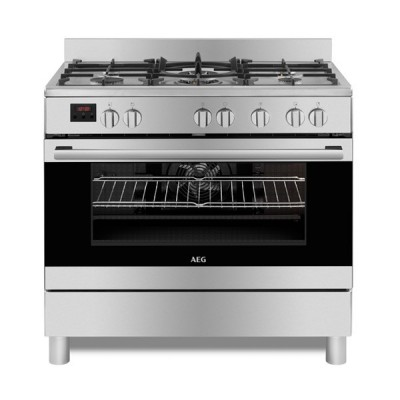 AEG 10369MN-MN 900mm Stainless Steel 5 Burner Gas/Electric Freestanding Oven