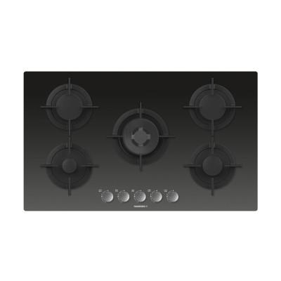 Rosieres 90cm Black Glass On Glass 5 Burner/Wok Gas Hob