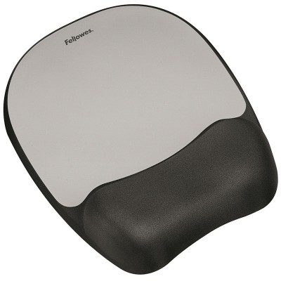 Fellowes Memory Foam Mouse Pad Wrist Support - Silver Streak