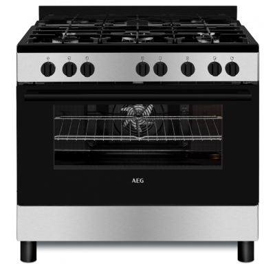 AEG CKB901A4BM 900mm Stainless Steel 4 Burner Gas/Electric Free-Standing Oven