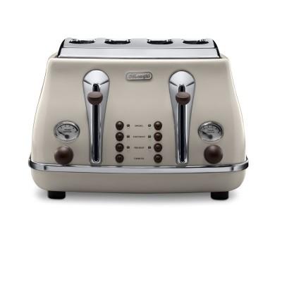 Delonghi Icona Vintage Toaster Cream and Mahogany