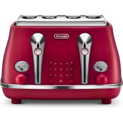 Delonghi Icona Elements 4 Slice Flame Red