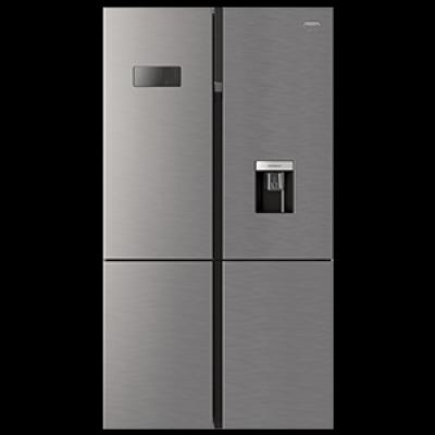 Defy DFF405 679L Satin Metallic 4 Door F890 Side By Side Refrigerator