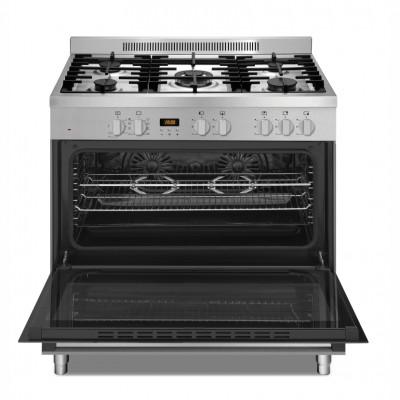 Defy DGS906 900mm Inox 5 Burner Gas/Electric New York Twin Thermofan Freestanding Oven