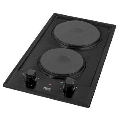 Defy DHD400 300mm Black Domino 2 Solid Plate Hob