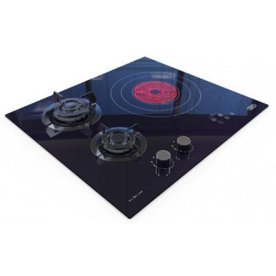 Defy DHG605 600mm Black 2 Burner/1 Plate Duel Fuel Slimline Gas Electric On Glass Hob
