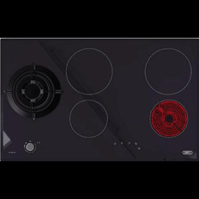 Defy DHG901 900mm Black 4 Plate/1Burner Gemini Duel Fuel Vitroceramic Glass Hob