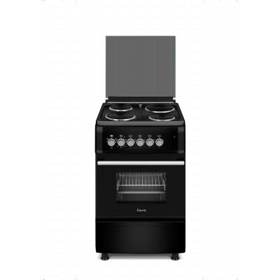 Ferre F5S04E3.T.B 50x60 Black Free Standing 4 Plate Electric Oven
