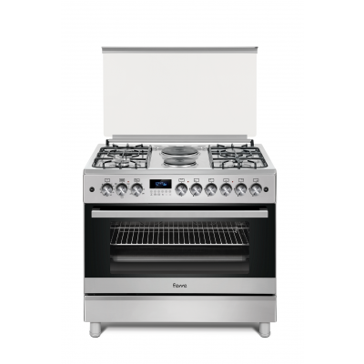 Ferre F9S42E3.FDIDTLC.I 90cm Stainless Steel Free Standing 4 + 2 Electric Burners Gas/Electric Oven