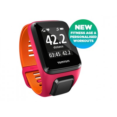 TomTom Runner 3 Pink/Orange with Heart Rate Monitor Chest Strap