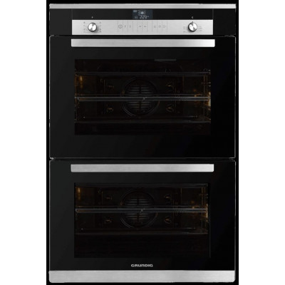Grundig GEDM 36000 B 700mm Black Glass Multifunction Built-In Double Oven