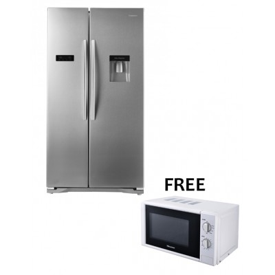Hisense 556L Side By Side With Water/Ice Dispenser Fridge (FREE HISENSE 20L WHITE MANUAL MICROWAVE)