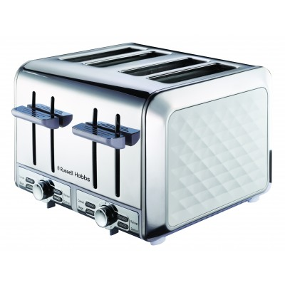 Russel Hobbs Diamond White 4 Slice Toaster