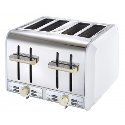Russel Hobbs White & Wood 4 Slice Toaster