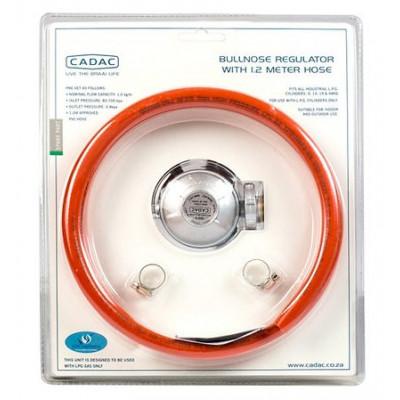 Cadac SA5S-120BP Bullnose Regulator +1.2m Hose & 2 Clamps