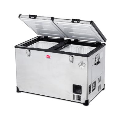 SnoMaster SMDZTR82D 81.5Ltr Stainless Steel Dual Fridge Freezer Double Door