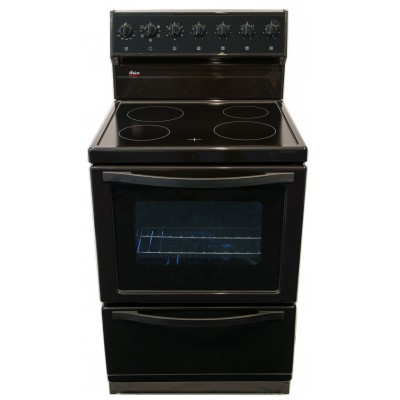 Univa U116B 600mm 4 Solid Plate Black Electric Freestanding Stove